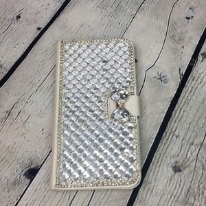 💕Glitter bling bow cell phone wallet case
